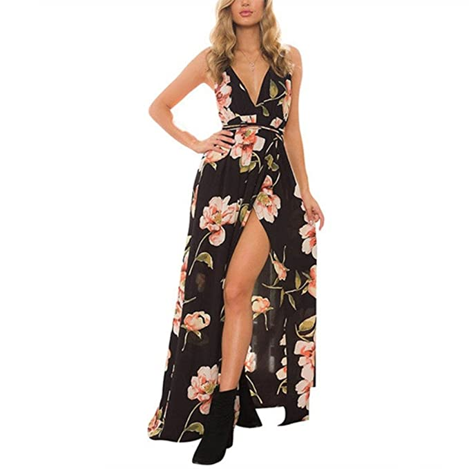 Vestido de mujer, Lananas 2018 Mujer Summer Cuello en V profundo sin mangas Split frontal Maxi playa Fiesta Noche Vestido de flores: Amazon.es: Ropa y ...