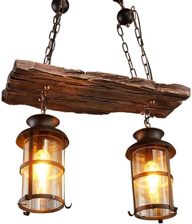 Vintage Industrial Metall Pendelleuchte Leuchte Vintage Holz Kronleuchter 2 Kopf Vintage Industrial Style Retro Rustikal Vintage Industrial Edison Deckenleuchte Linear Kronleuchter 2-Lights