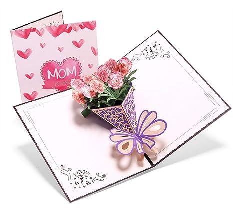 Deesos Carte De Fête Des Mèrescarte Danniversaire Pour Maman Spécial 3d Pop Up Carte De Voeux Avec Belle Paper Cut Meilleur Cadeau Pour