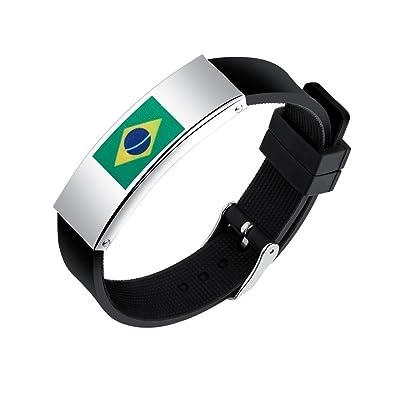 Naisidier Bracelet Sport Football Fan Bracelet Cheerleading Bracelet Durable Femme Homme Non-toxique RUSIA FIFA WORLD CUP 2018 Silicone Drapeau Brésilien