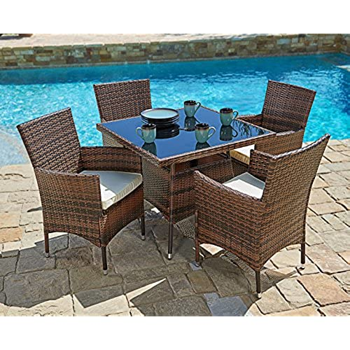 Suncrown Outdoor Furniture All-Weather Square Wicker Dining Table and Chairs  (5-Piece Set) Washable Cushions | Patio, Backyard, Porch, Garden, ... - Modern Backyard Table And Chairs: Amazon.com
