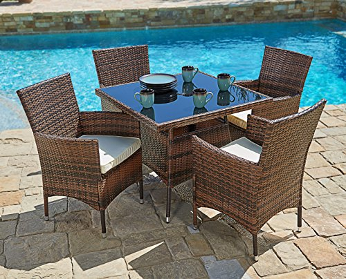 Suncrown Outdoor Furniture All-Weather Square Wicker Dining Table and Chairs (5-Piece Set) Washable Cushions | Patio, Backyard, Porch, Garden, Poolside | Tempered Glass Tabletop | Modern Design ()