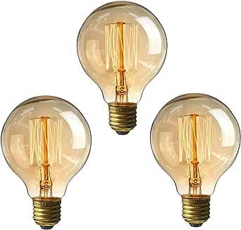 LEDMOMO LED Edison Bulbs, 3pcs E27 Vintage Bulbs 40W 220V G80 Light Bulbs for Chandeliers Sconces Light