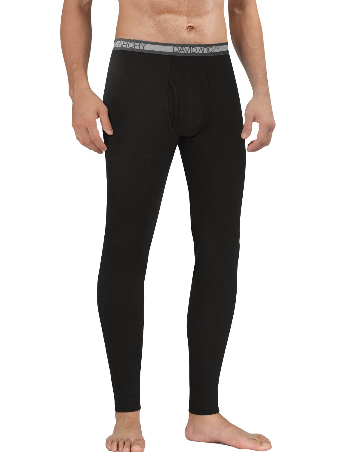David Archy Men's Fleece Lined Base Layer Thermal Bottom with Fly(L,Black)
