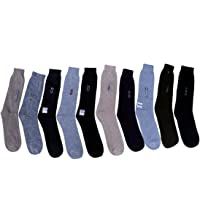 Tramp & Badger Men's Free Size Full Length Cotton Socks (Set of 10) (Color:-Grey,Black,Green,Dark Grey,Black,Blue,Light Blue,Black,Brown,Light Grey)