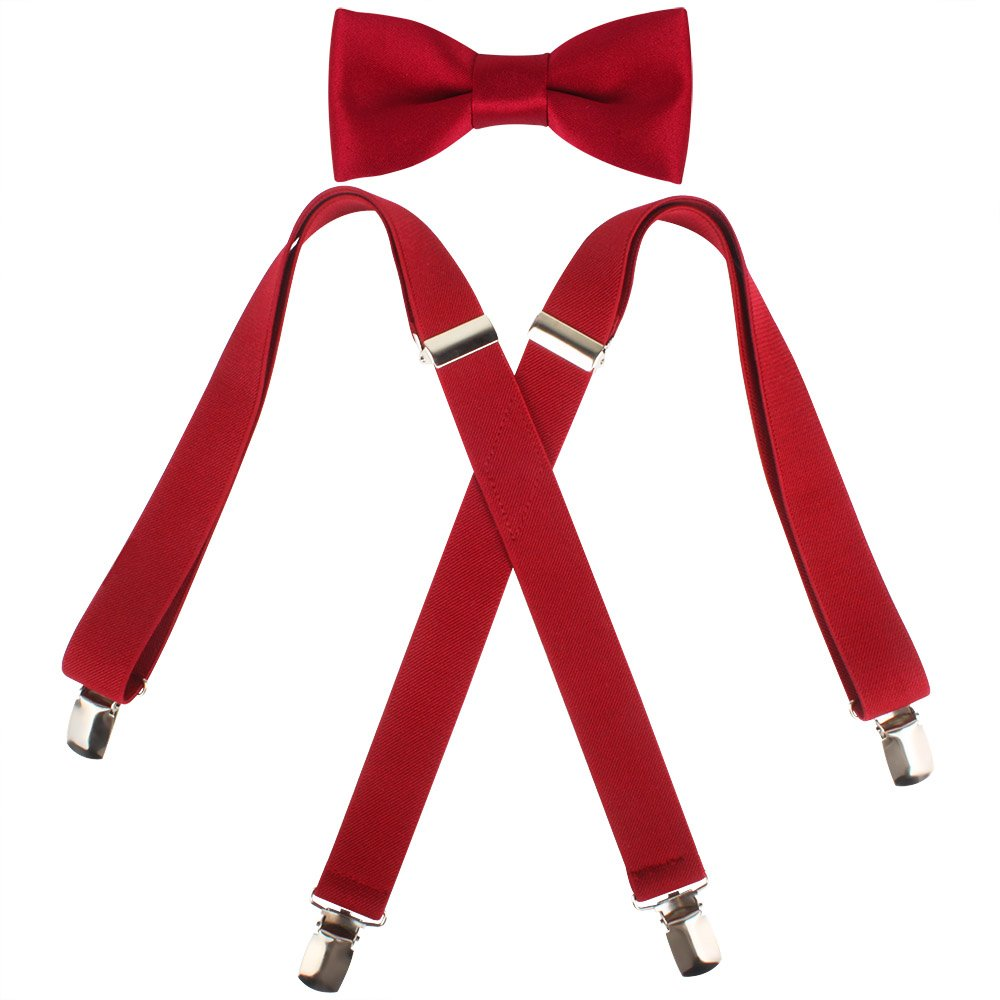 Kat Cheung Bahar 2PCS Bow Tie And Suspenders Set For Kids Boys 4 Clips Adjustable and Elastic Braces X Shape (Wine Red)