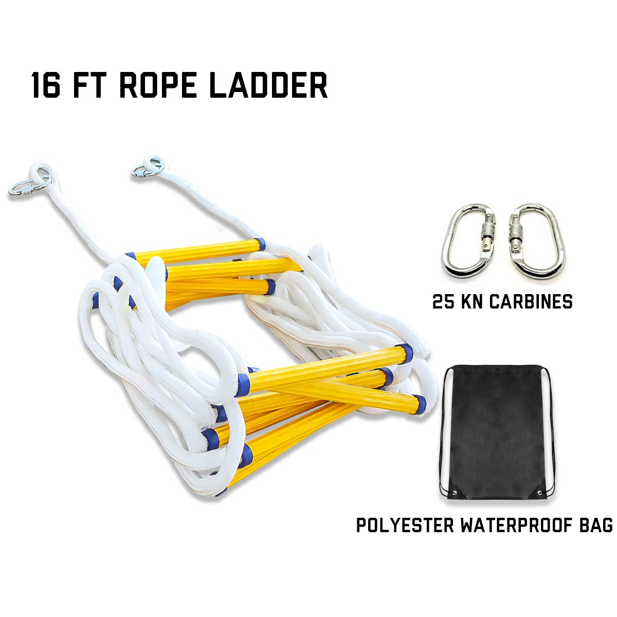 Emergency Fire Escape Rope Ladder 2 Story Homes 16 Feet Flame Resistant Fire Safety Ladders with Carabines | Weight Capacity up to 2500 Pounds | Portable and Reusable