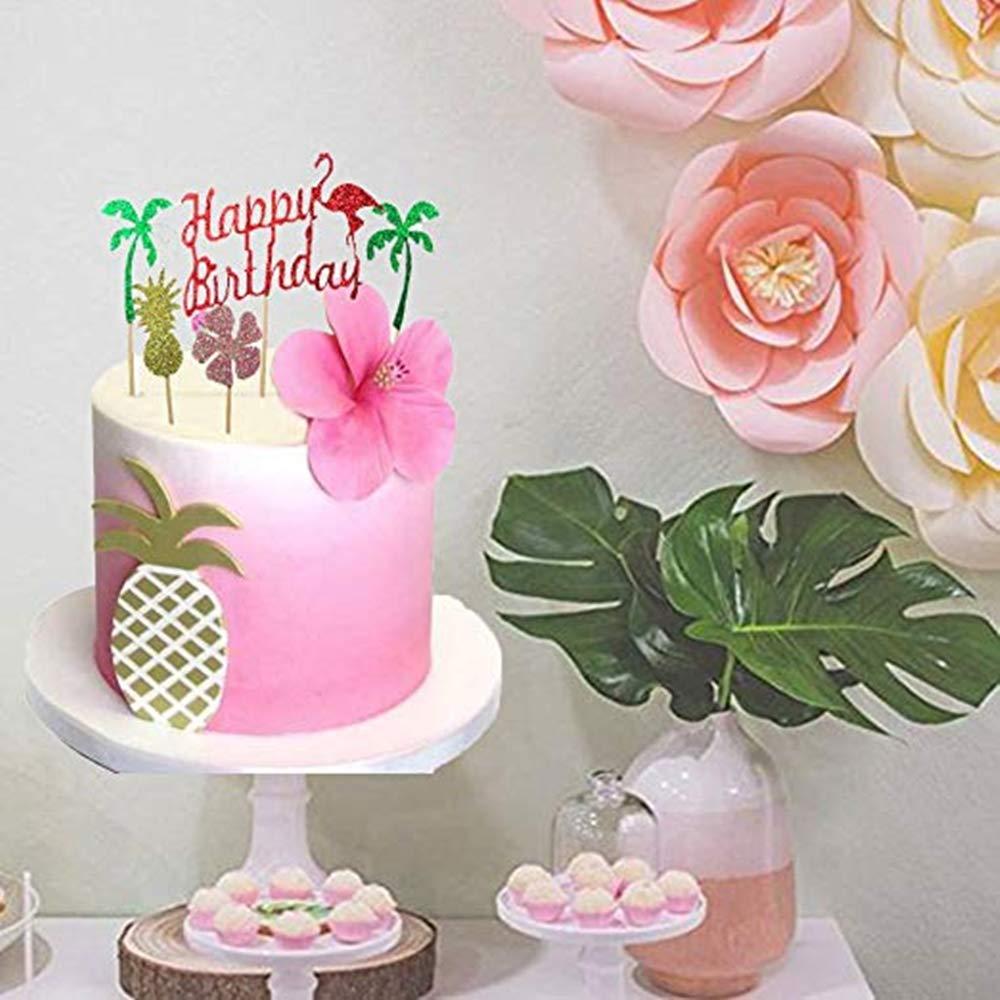 Sakolla Set Of 5 Flamingo Cake Toppers Pineapple Happy Birthday Decoration Tropical Hawaiian Luau