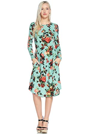 NeeSee's Dresses Floral Midi Dress (Small, Mint Roses Floral)