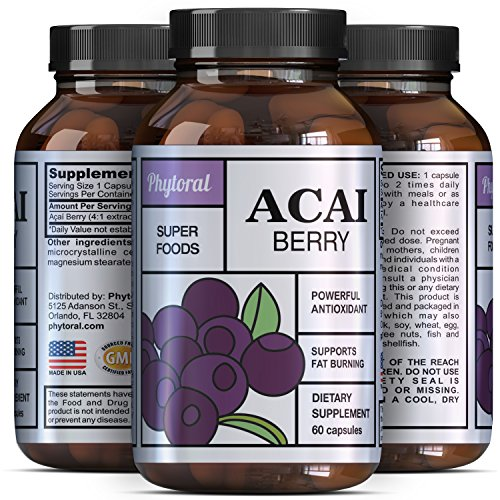 Acai Berry - Detox Cleanse - Antioxidant  Weight Loss Supplement - Immune System Booster - Promotes Digestion & Cardiovascular Health - Superfood  Vitamins - All Natural Pills - Made by Phytoral
