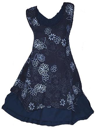 Italy Donna Damen Lagenlook Sommer Leinen Tunika Hängerchen Bluse Hemd  Kleid Shirt 44 46 48 50 a4181050e3