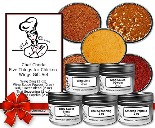 Chef Cherie's Five Things for Chicken Wings Gift Set-Contains 5 2 oz. Tins