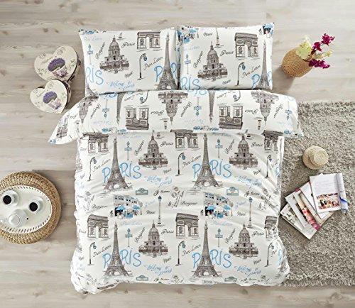 Bedding Sets Black and White Paris Eiffel Tower Love Themed, Cotton Queen Duvet Cover, Lettering Bonjour Je Taime Elegant Design, 4 Pieces, Blue (Black And White Paris Themed Bedding)