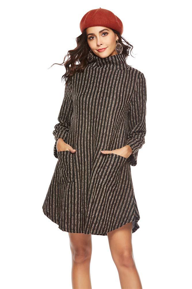 Brown Women Dress High Collar Fashion Sexy Long Sleeve Sweater Skating Skirt Girl Stripe Elegant Cockatail Office Clubwear Bodycorn Dress