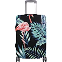 Mydaily Flamingo Tropical Palm Leaves Luggage Cover Fits 18-32 Inch Suitcase Spandex Travel Protector