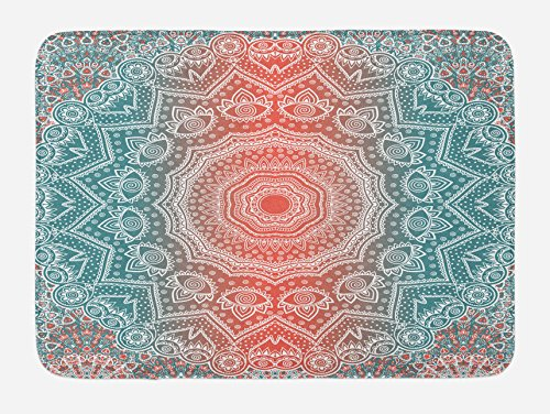 (Ambesonne Coral and Teal Bath Mat, Modern Tribal Mandala Tibetan Healing Motif with Floral Geometric Ombre Art, Plush Bathroom Decor Mat with Non Slip Backing, 29.5 W X 17.5 L Inches, Coral Teal)
