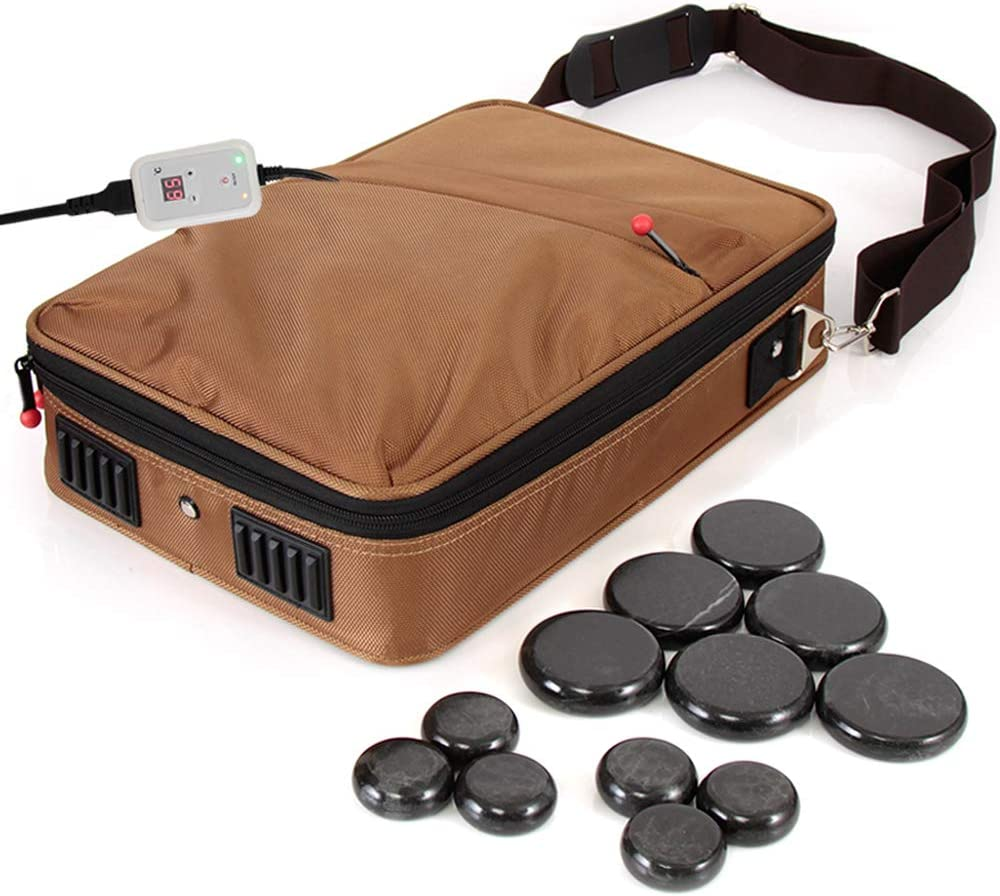 Serenelife Portable Hot Stone Massage Warmer Set Spa Kit With Temperature Control Lcd Display 6 Small And 6 Large Round Basalt Stones Brown
