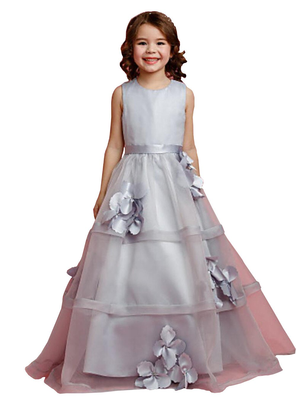 Banfvting Cute Flower Girl Dresses Grey Organza Gown Teens Formal Wear A Line Sleeveless Toddler Pageant Dress (2)