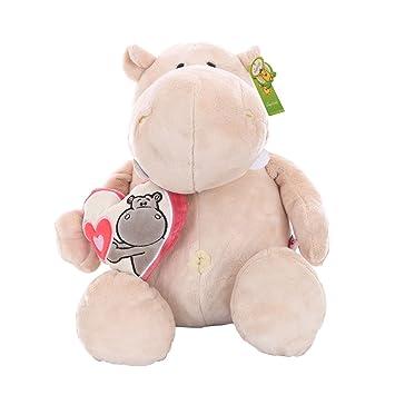 Peluche de peluche suave para bebé animales de peluche juguete Holding corazón Beige hipopótamo muñeca 31