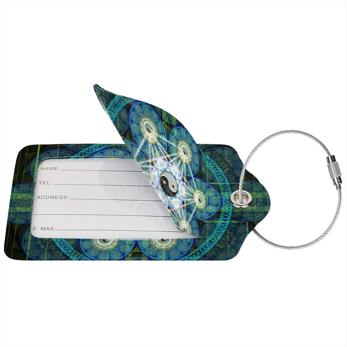 Sacred Geometry Travel Luggage Tags With Full Privacy Cover Leather Case And Stainless Steel Loop