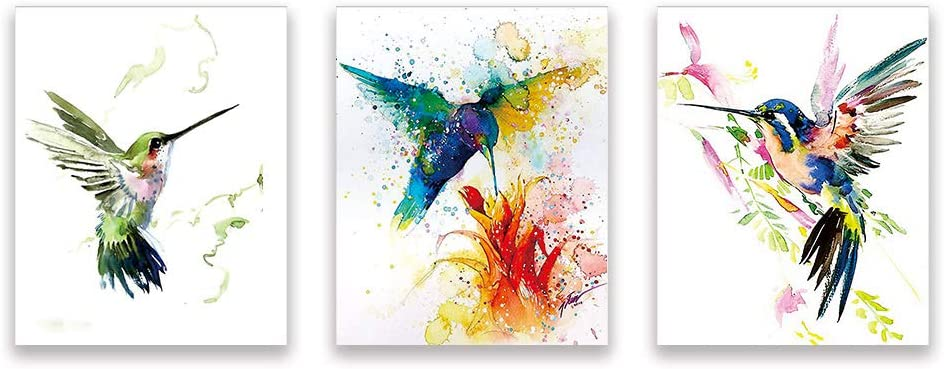 Watercolor Bird Wall Art Print, 8x10 inch Set of Three Unframed Art Print,Stunning Watercolor Style Hummingbirds Decor for Kitchen Bedroom Office Bathroom Home Decor