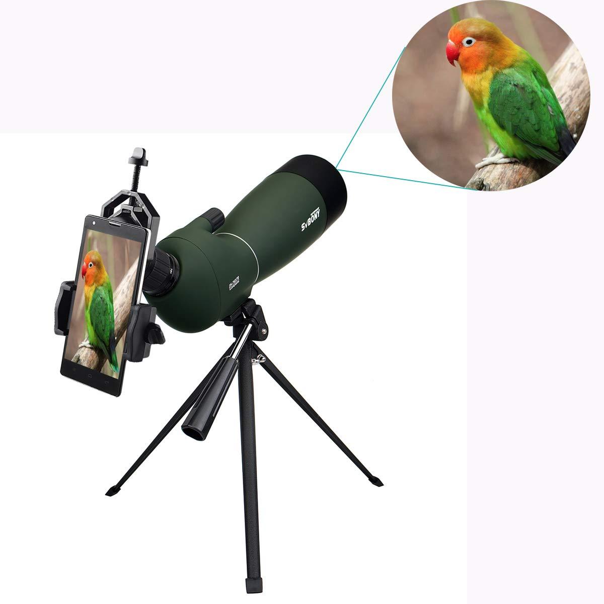 Svbony SV28 Telescopio Terrestre 20-60x80mm IP65 Waterproof Bak-4 Prism Catalejo con Trípode y Adaptador de Smartphone para la Observación de Aves: ...