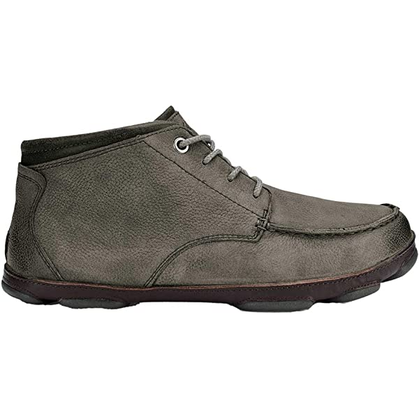 OluKai Men/'s Hamakua Poko Moc Toe Derby Storm Grey//Dark Wood Moc Toe Shoes