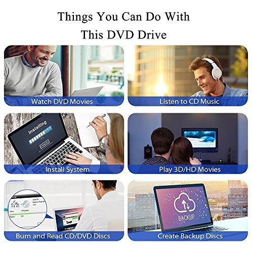Dainty DVD Drive USB External 3.0 CD DVD +/-RW Burner Rewriter Player, Optical DVD Superdrive High Speed Data Transfer for Laptop MacBook Desktop Computer Support for Windows10/8/7/XP/Mac OS by Dainty (Image #6)