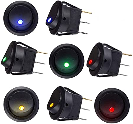 Sunerly 8 Pieces Dc 12v 20a Car Boat Truck Trailer Car Illuminated Round Switch Rocker Switch Button Toggle On Off Switch With Red Spst Switch With 4 Colour Led Dot Light Auto