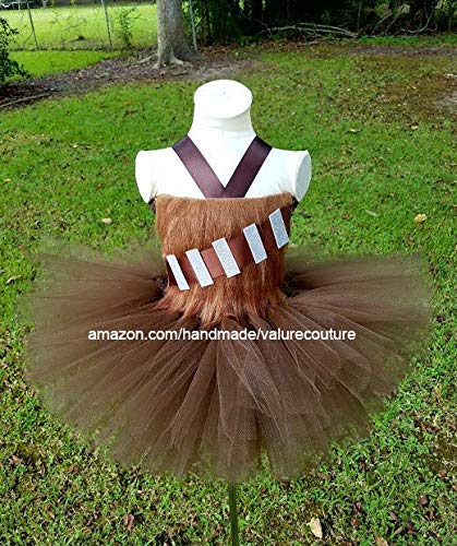 Star Wars Chewbacca Inspired Tutu Dress Costume Pageant Birthday Halloween Girls Newborn Infant Toddler Baby Outfit Onesie Shirt Bow Party Princess Kids Gift Topper Favors