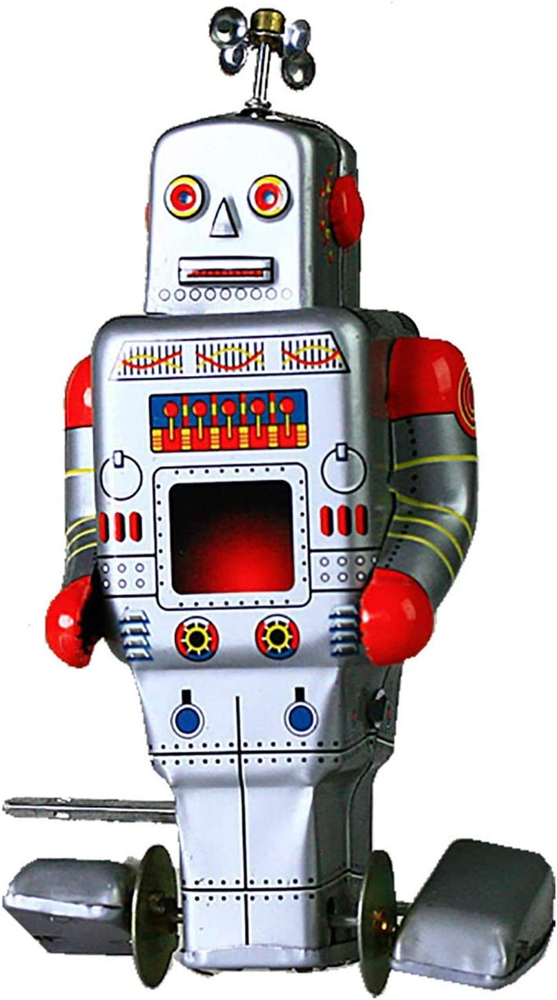 HwaStudio MS371 Vintage Clockwork Wind Up Tank Robot with Key Tin Toy Collectable Gift