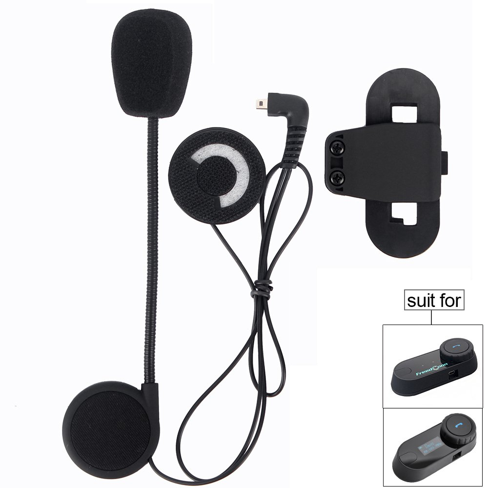 Motorcycle Helmet Speakers,FreedConn T-COMVB Series Headset and Clip Kits for Motorcycle Communication System(Sturdy and Durable/Black) by FreedConn (Image #1)