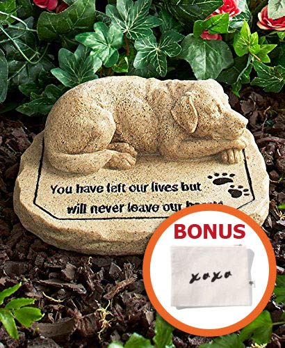 HM Homes Memorial Garden Stone for Dog - Dog Sympathy Gifts - Outdoor Pet Remembrance - Burial Markers (Dog Stone Cast)