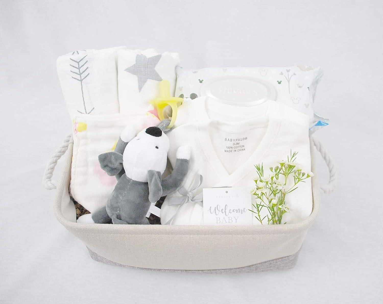8-Piece Baby Shower Gift Basket Set - Organic Cotton Bamboo Muslin Swaddle, Plush Animal Pacifier Holder, Kimono Onesie Bodysuit, Bandana Bib - Colorful Elephants, Diaper Basket, Natural Baby Wipes BABYPAUSO S4-SP
