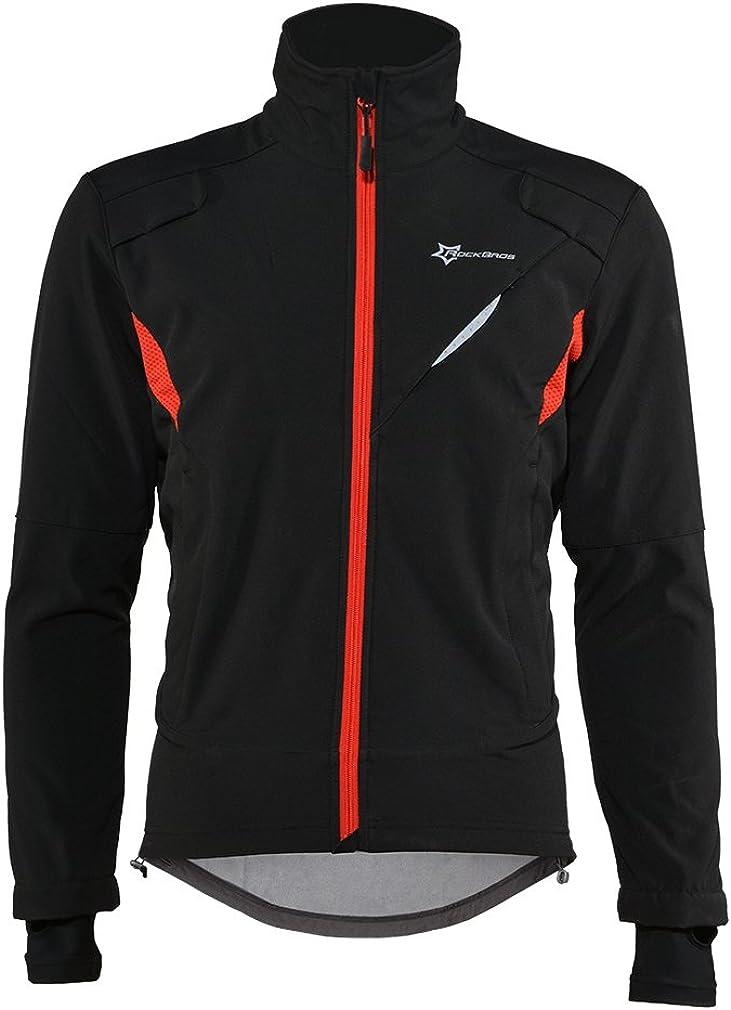 RockBros Winter Cycling Fleece Thermal Windproof Jacket Outdoor Sport Coat Casual Riding Long Sleeve Jersey for Men Black
