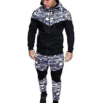 ede6ce11df52 Amlaiworld Chándal de otoño Invierno Hombres Traje de Deportiva Hombres  Camuflaje Sudadera + Pantalones Conjuntos: Amazon.es: Deportes y aire libre
