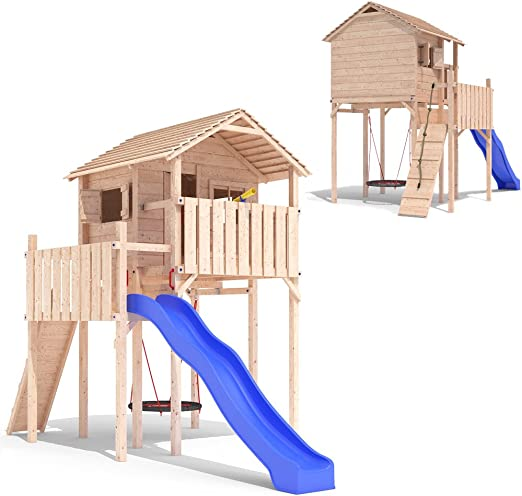 DOMIZILIO - Casita de juegos con tobogán y columpio para niños. Estilo cabaña/ casa del árbol: Amazon.es: Jardín
