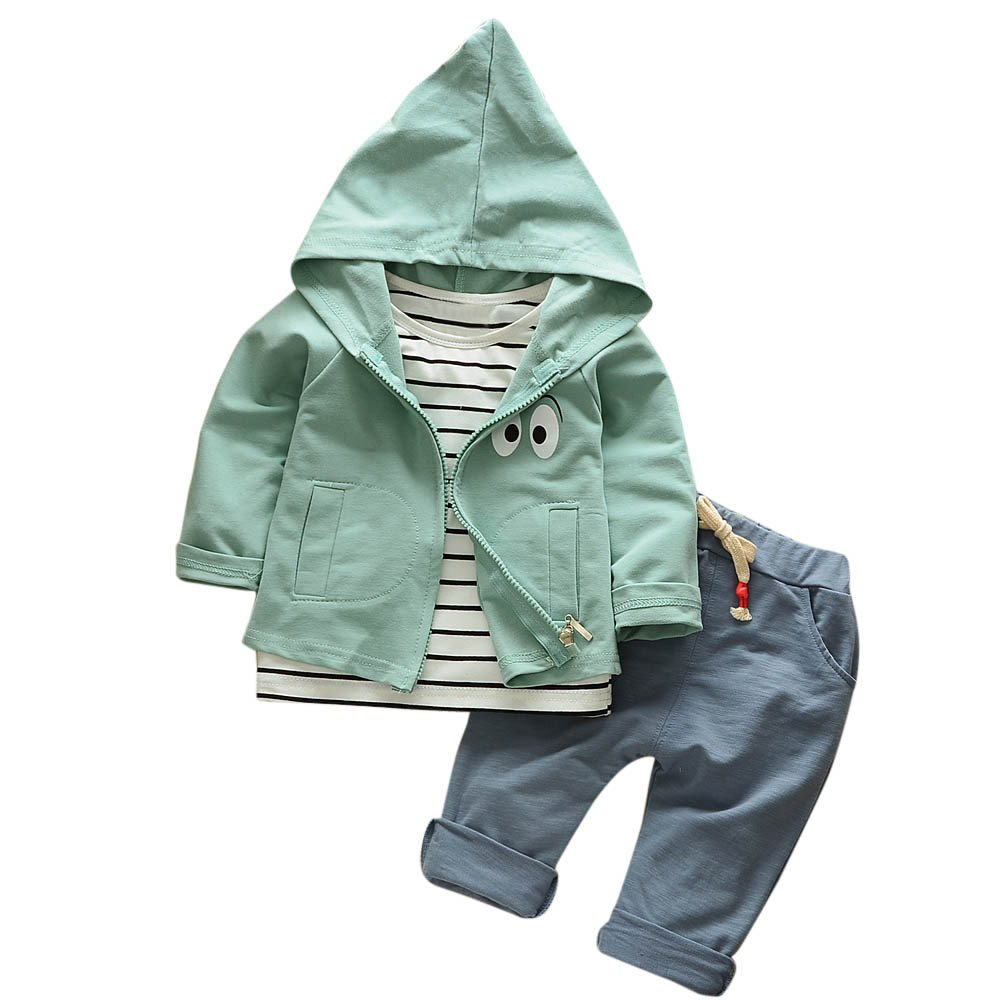 ❤️Mealeaf❤️ Baby Boys and Girls Clothes with Toddler Kid Baby Girls Boys Outfits Stripe T-Shirt+Hooded Coat+Pants Clothes Set (1-2 Years Old, Green)