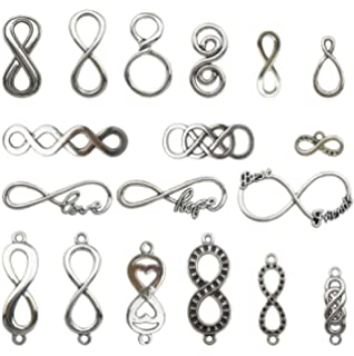 50 8 Infinity Connector Charms Link Charm Bracelet Antique Silver Tone 5x21 877