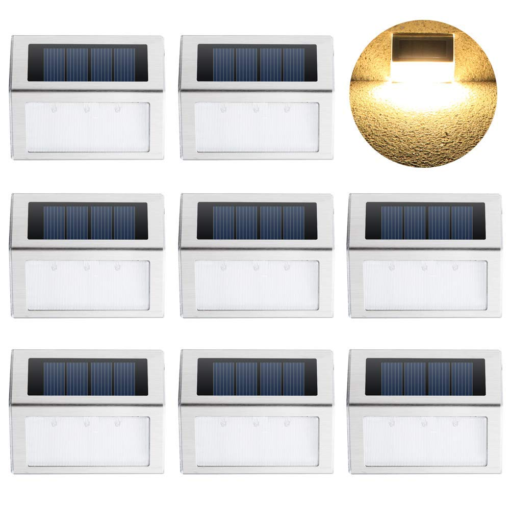 Solar Deck Lights, KASUN Super Bright LED Walkway Light Stainless Steel Waterproof Outdoor Security Lamps for Patio Stairs Garden Pathway (Yellow Light - 8PCS)