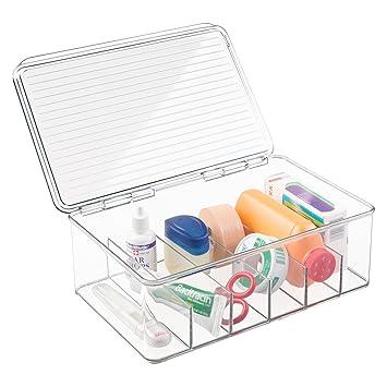 MetroDecor mDesign Organizador de Maquillaje con 6 Compartimentos y Tapa abatible - Cajonera plástico Multiusos Ideal para Guardar Sus vitaminas, ...