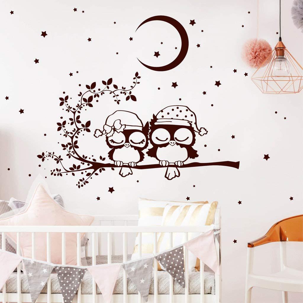 Wandtattoo Gute Nacht Eulen auf einem Ast mit Mond Mond Mond und Sternen braun   80 x 101 cm B00MIYO2C8 Wandtattoos & Wandbilder 98702f