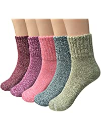 Womens 5 Pairs Vintage Style Winter Warm Thick Knit Wool...