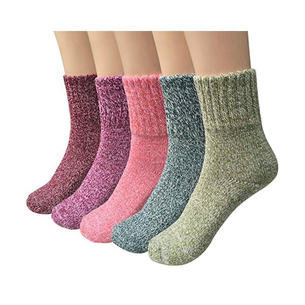 5 Pairs Womens Wool Socks Thick Knit Vintage Winter Warm Cozy Crew Socks Gifts