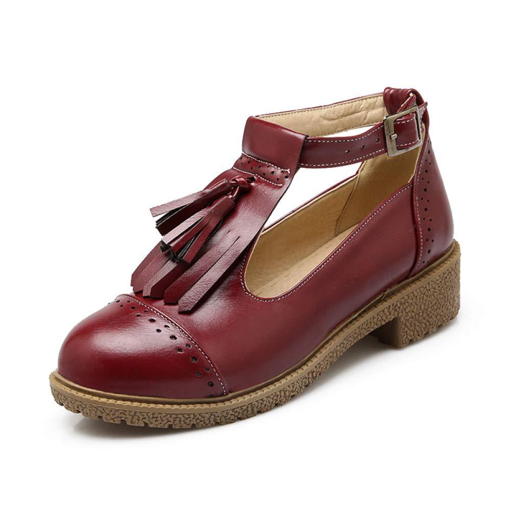 Ai Ya-liangxie 34-43 Heels Square Heels 34-43 Fashion Fransen T-Strap Frauen Pumps Schuhe Frühling Sommer Mary Janes Schuhe Frau 62864c