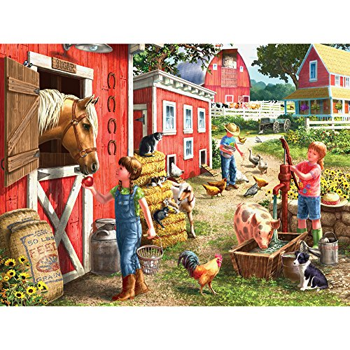 Bits and Pieces - 300 Large Piece Jigsaw Puzzle for Adults - Morning Chores - 300 pc Farm Animals Jigsaw by Artist Liz Goodrick-Dillon