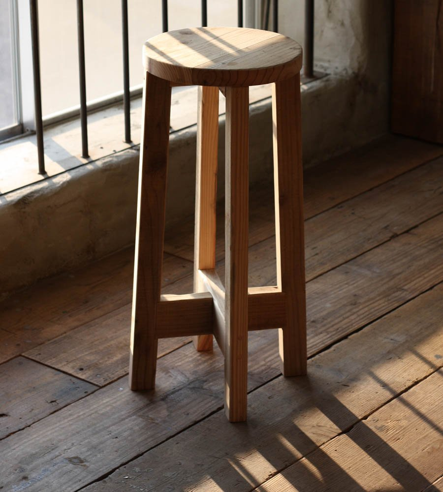 OLD ASHIBA 丸椅子 高さ700mm 無塗装 B01M8N3B6S  無塗装