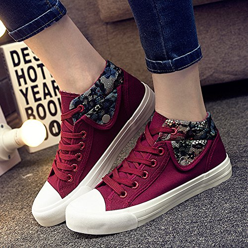 Aisun Dames Trendy Bloemen Lage Tops Lace Up Canvas Schoenen Sneakers Rood