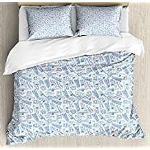 Jazz Music King Size Duvet Cover Set by Ambesonne, Pattern of Blue Sketchy Saxophones Trombones Timpani Drums Cellos Synthesizers, Decorative 3 Piece Bedding Set with 2 Pillow Shams, Blue White