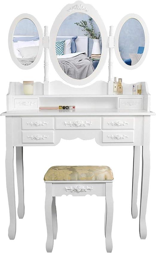 CCLIFE 150x90x40cm Tocador maquillaje y taburete,7 cajones y 3 ...